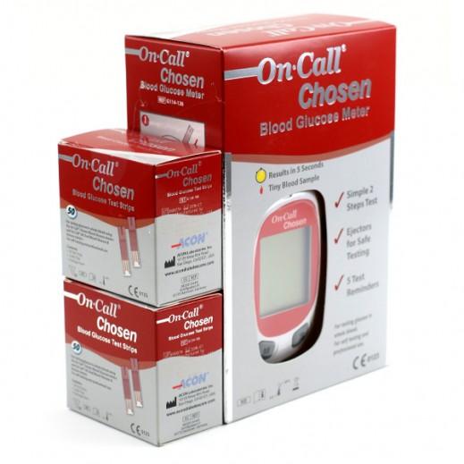 أون كول تشوزن – جهاز فحص السكر في الدم + 100 شريط مجاني