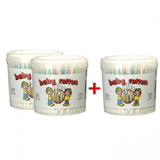 زيترا - عيدان قطنية نقية للأطفال 200 حبة (2 عبوة + 1 مجاناً)