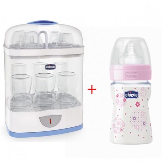 شيكو – جهاز التعقيم الرقمي SterilNatural موديل 2×1 + زجاجة رضاعة 150 مل بناتي ملونة مجانية (عرض خاص)