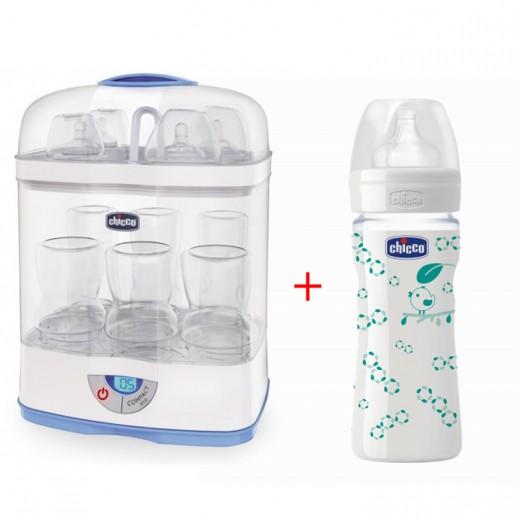 شيكو – جهاز التعقيم الرقمي SterilNatural موديل 3×1 + زجاجة الإرضاع للأطفال من الزجاج المزخرف 240 مل مجاناً(عرض خاص)