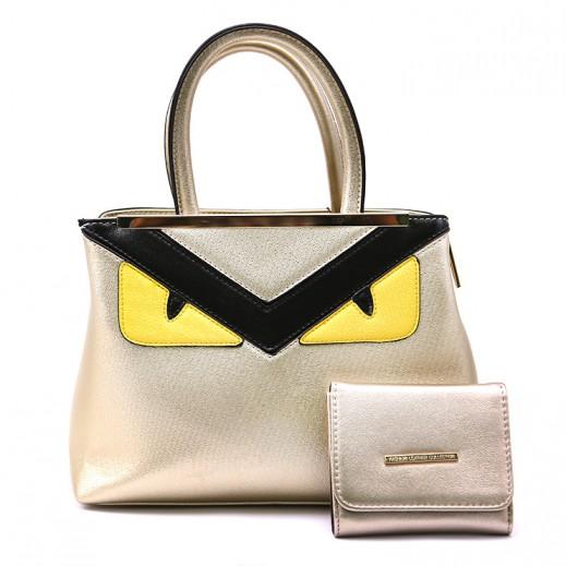 لوريس جوفينو – حقيبة يد جلدية للسيدات موديل B8632-F392 + محفظة ذهبي