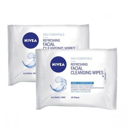 نيفيا - مناديل تنظيف منعشة للوجه 25 حبة (1+1 مجانا)