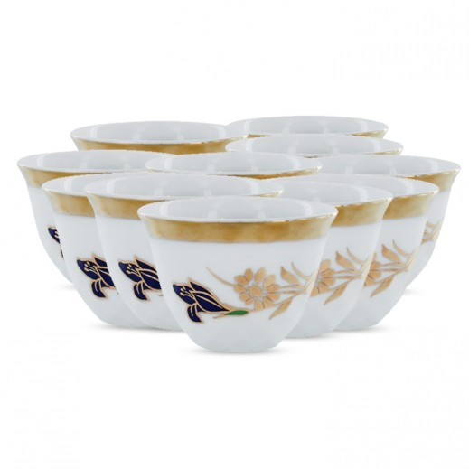 طقم فناجين قهوة عربية 12 قطعة مزخرفة بالورد الذهبي (صناعة يابانية)