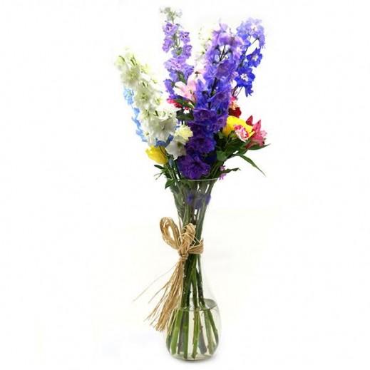 فازة زهور الديلفنيوم الملونة - يتم التوصيل بواسطة ورود A&K