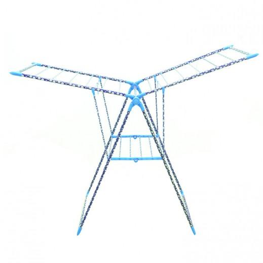 منشر من الستانليس ستيل لتجفيف الملابس بتصميم الورود – أزرق (58×75×100 سم)