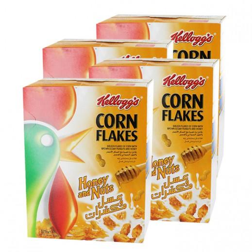 كلوقز – رقائق الذرة المحمصة  بالفول السوداني والعسل 4 × 375 جم