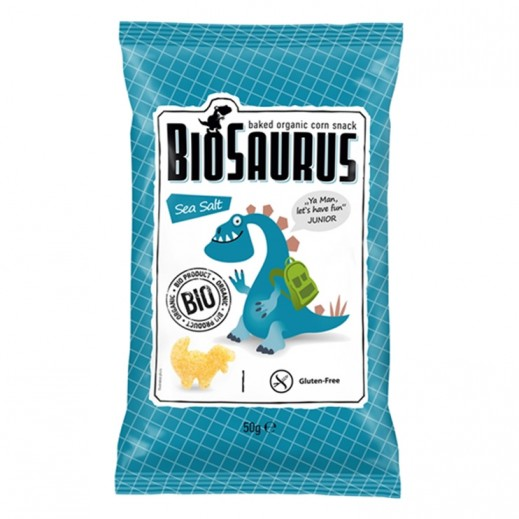 بيوسوروس - سناك الذرة العضوية المحمص مع ملح بحري 50 جم