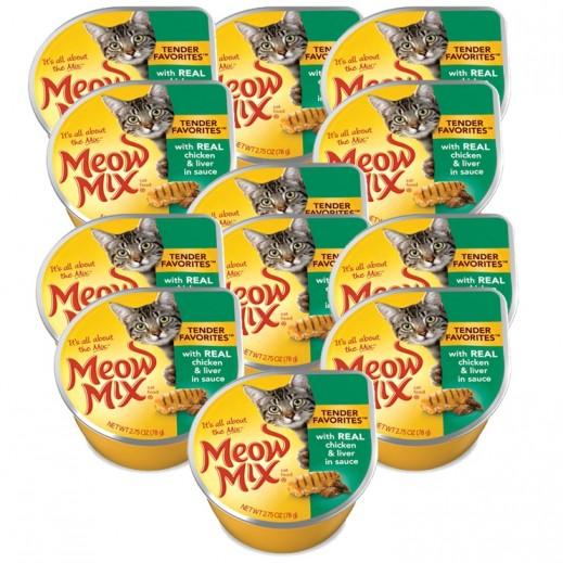 ميو ميكس – طعام القطط من الدجاج والكبد في الصلصة 78 جم (12 حبة) - أسعار الجملة
