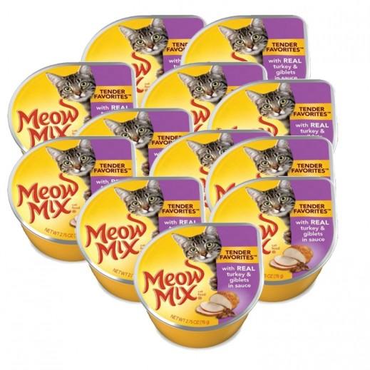ميو ميكس – طعام القطط من الديك الرومي والأحشاء في الصلصة 78 جم (12 حبة) - أسعار الجملة