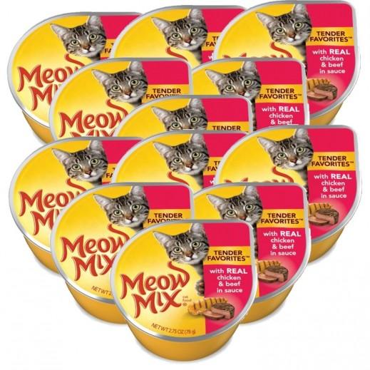 ميو ميكس – طعام القطط من الدجاج واللحم البقري في الصلصة 78 جم (12 حبة) - أسعار الجملة