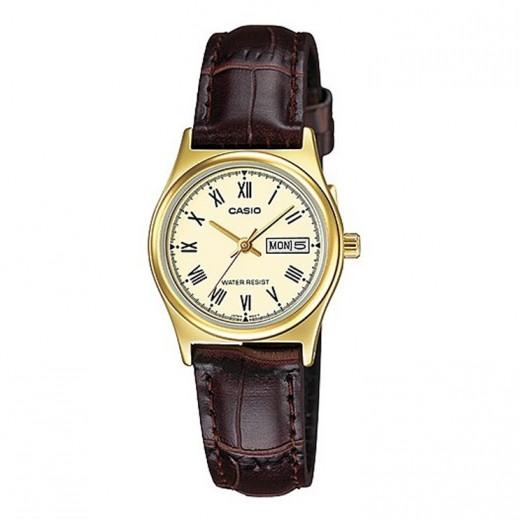 كاسيو- ساعة يد رجالي عقارب ذهبية بسوار جلد   - يتم التوصيل بواسطة Veerup General Trading