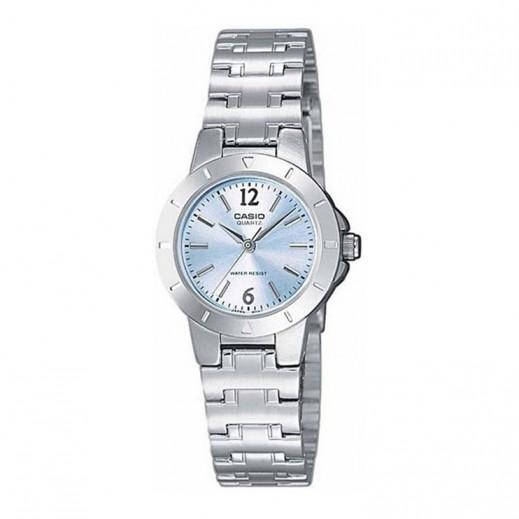 كاسيو- ساعة يد للسيدات عقارب معدنية قرص أزرق فاتح/فضي   - يتم التوصيل بواسطة Veerup General Trading