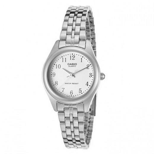 كاسيو- ساعة يد للسيدات عقارب استانلس استيل قرص أبيض  - يتم التوصيل بواسطة Veerup General Trading