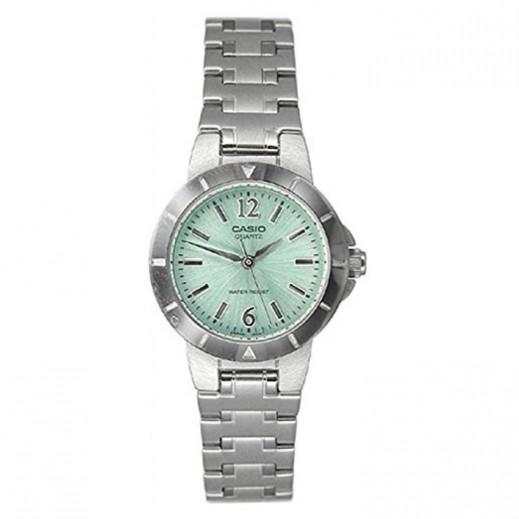 كاسيو- ساعة يد للسيدات عقارب حزام استانلس استيل فضي قرص أخضر - يتم التوصيل بواسطة Veerup General Trading
