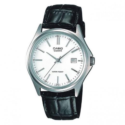 ebebf8fd2 كاسيو- ساعة يد كلاسيكية رجالي عقارب بسوار جلد وقرص أبيض - يتم التوصيل  بواسطة Veerup