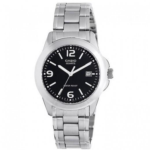 كاسيو- ساعة يد للسيدات عقارب استانلس استيل قرص اسود  - يتم التوصيل بواسطة Veerup General Trading