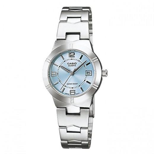 كاسيو- ساعة يد انتيسر للسيدات عقارب استانلس استيل قرص أزرق - يتم التوصيل بواسطة Veerup General Trading