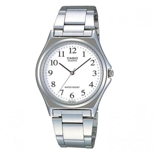 كاسيو- ساعة يد رجال استانلس استيل عقارب بقرص أبيض - يتم التوصيل بواسطة Veerup General Trading