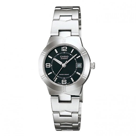 كاسيو- ساعة يد انتيسر للسيدات عقارب استانلس استيل قرص أسود - يتم التوصيل بواسطة Veerup General Trading