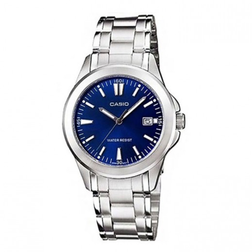 كاسيو- ساعة يد للسيدات عقارب استانلس استيل قرص أزرق - يتم التوصيل بواسطة Veerup General Trading