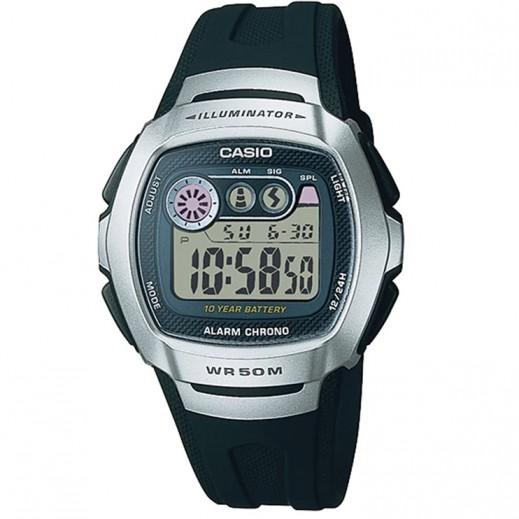 كاسيو- ساعة يد رجال شبابي رقمية بحزام أسود وقرص فضي - يتم التوصيل بواسطة Veerup General Trading