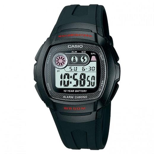 كاسيو- ساعة يد رجال شبابي رقمية بحزام أسود وقرص أبيض - يتم التوصيل بواسطة Veerup General Trading