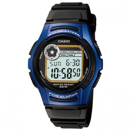 كاسيو- ساعة يد رجال رقمية حزام سيليكون وقرص أزرق - يتم التوصيل بواسطة Veerup General Trading