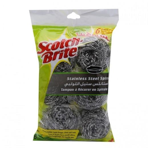 سكوتش برايت - ليفة حلزونية من الفولاذ المقاوم للصدأ 6 حبة