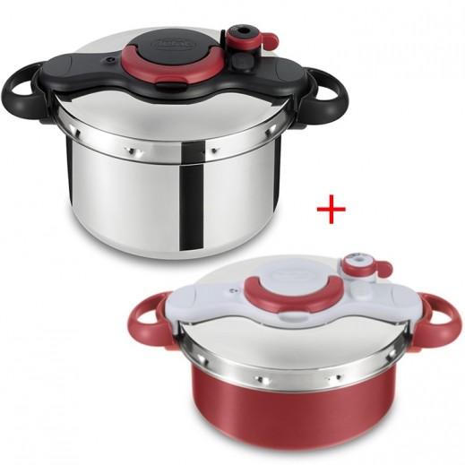 تيفال - طقم طباخ ضغط كليبسو مينوت برفكت استانلس استيل (ايزي 7.5 لتر + ديو 5 لتر)
