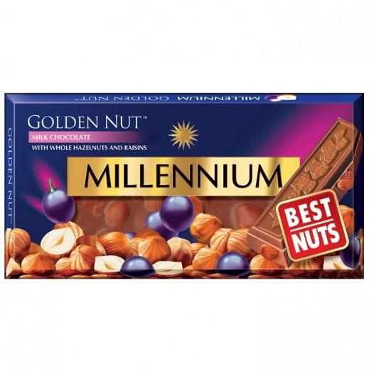 ميلينيوم - شوكولاته بيضاء ميلينيوم الذهبى بالبندق الكامل والزبيب 100 جرام