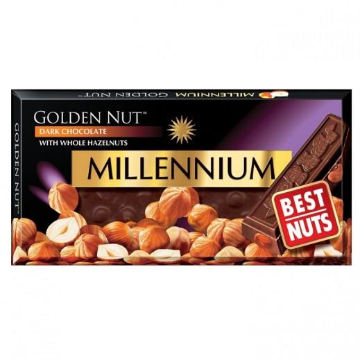 ميلينيوم - شوكولاته داكنة ميلينيوم الذهبى بالبندق الكامل 100 جرام