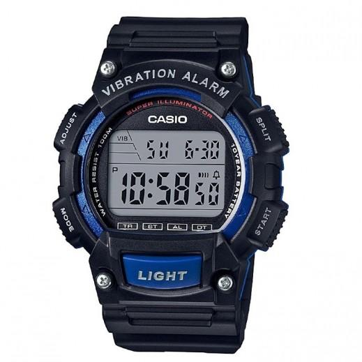 كاسيو- ساعة يد رجال شبابي رقمية حزام أسود قرص أسود