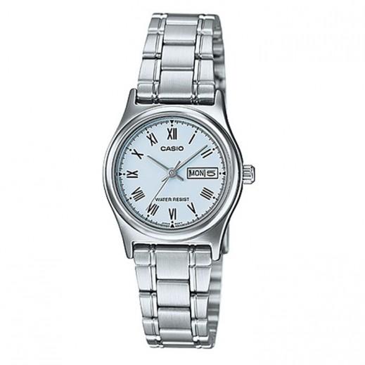 كاسيو- ساعة يد للسيدات عقارب حزام استانلس استيل وقرص أزرق   - يتم التوصيل بواسطة Veerup General Trading