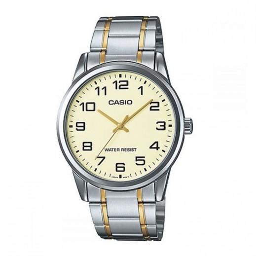 كاسيو- ساعة يد للسيدات عقارب حزام استانلس استيل وقرص بيج - يتم التوصيل بواسطة Veerup General Trading