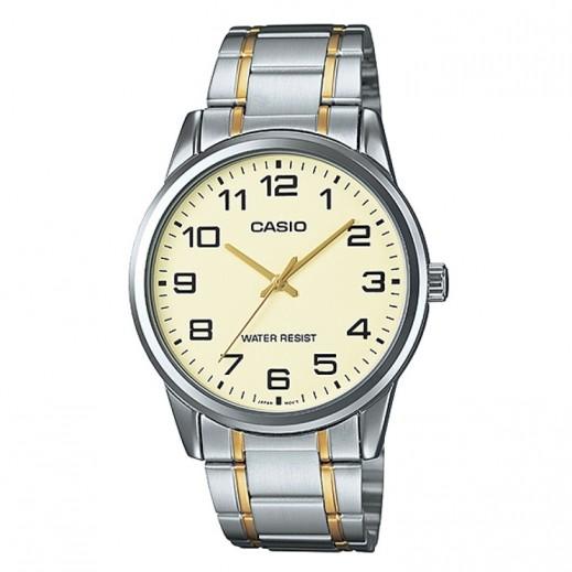 كاسيو- ساعة يد للرجال عقارب حزام استانلس استيل فضي وقرص بيج - يتم التوصيل بواسطة Veerup General Trading