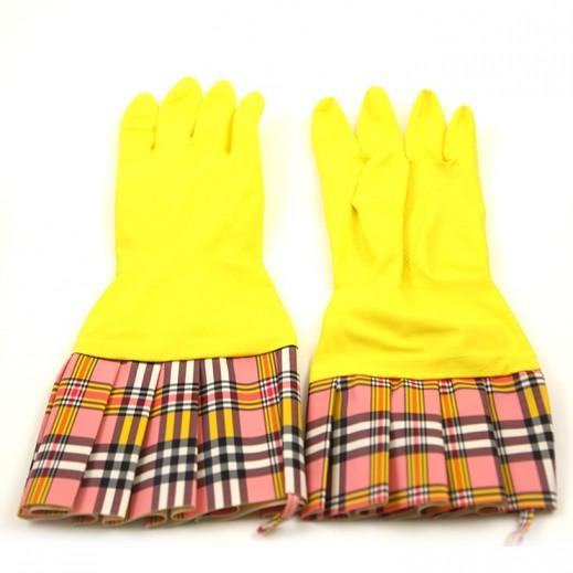 ديوراجلاف  – قفازات تشيك لاتكس صفراء مع كفة - 2 زوج