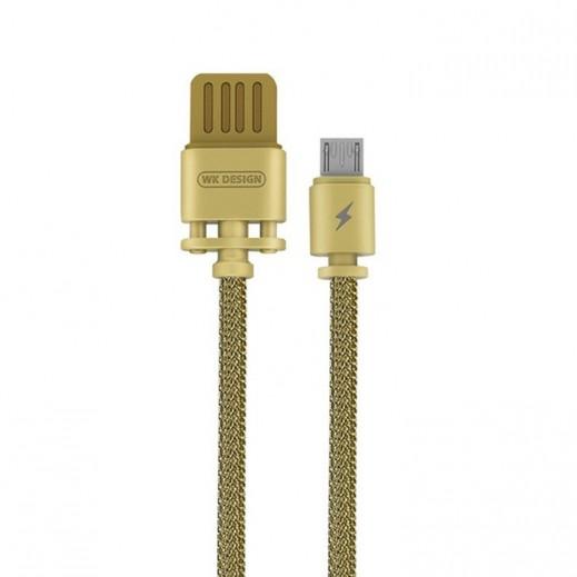 دبليو كي ديزاين – كيبل Micro USB معدني طول 1 متر – ذهبي