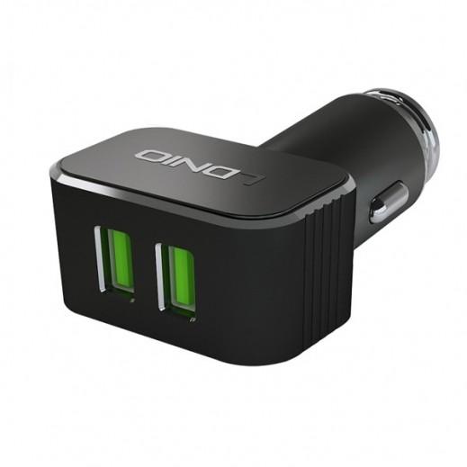 لدنيو – شاحن سيارة سريع ثنائي USB بقوة 3.6 أمبير مع كيبل ميكرو USB – أسود