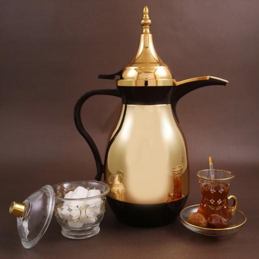 ألجو – دلة القهوة العربية 1 لتر – ذهبي وبني