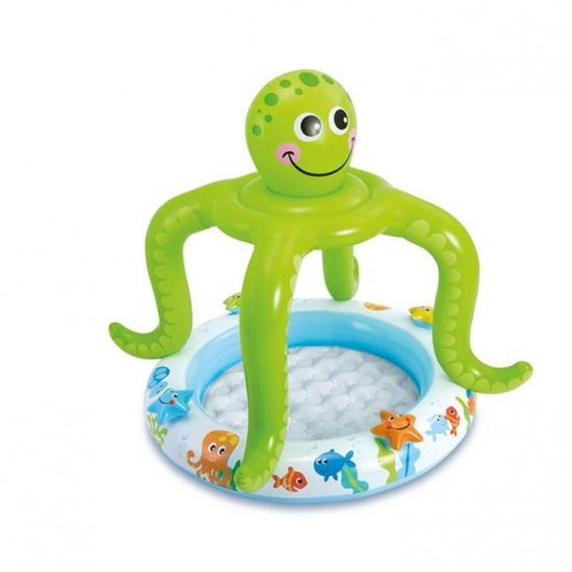 إنتكس – حمام سباحة دائري بمظلة على شكل أخطبوط 102 × 104 سم