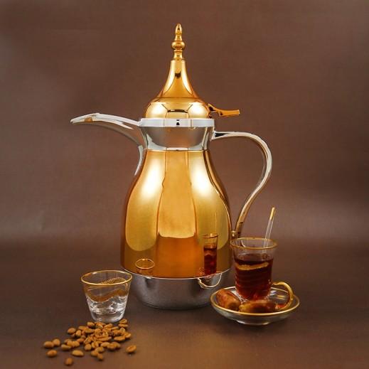 ألجو – دلة القهوة العربية 1 لتر – فضي وذهبي