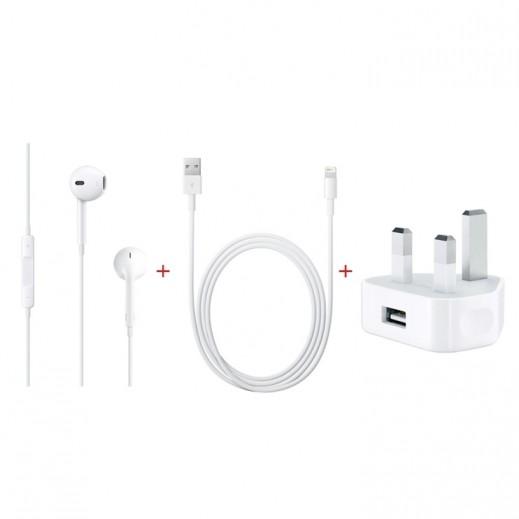 ابل - سماعات الأذن مع ميكروفون + ابل – محول الطاقة USB + ابل – كيبل Lightning للشحن