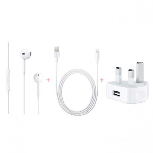 Apple – سماعات الأذن مع موصل Lightning + محول الطاقة USB + كيبل Lightning للشحن