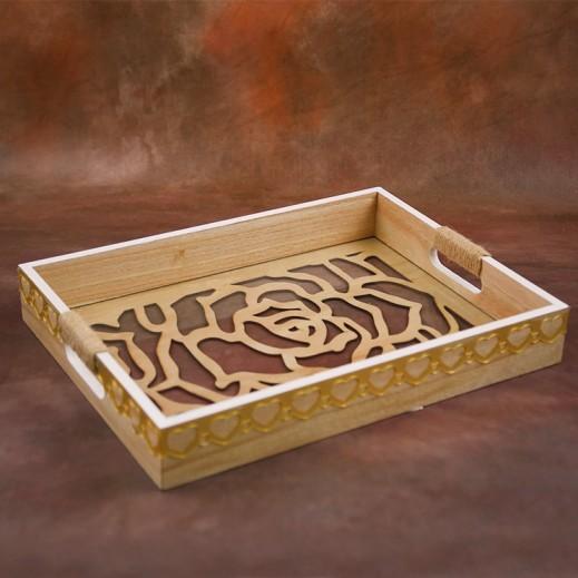 صينية خشبية للتقديم بتصميم الورود - حجم وسط