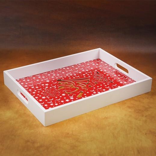 صينية خشبية للتقديم لون أبيض وأحمر - حجم صغير