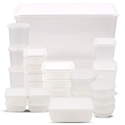 روزيتيل – طقم أوعية حفظ الطعام بغطاء - أبيض 30 حبة