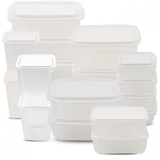 روزيتيل – طقم أوعية حفظ الطعام بغطاء - أبيض 17 حبة