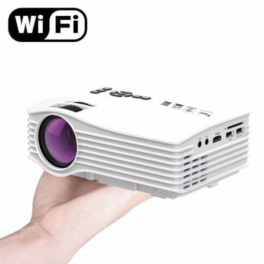 جهاز عرض بروجكتور سينما LED واي فاي لاسلكي مع مدخل HDMI ومنفذين USB - أبيض