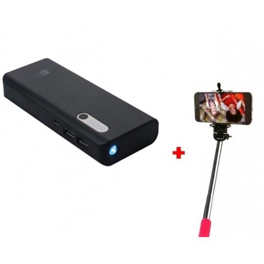 كايس لوجيك- بطاريه احتياطيه 8,000 ملي امبير مع 2 منفذ USB- اسود + كيس لوجيك عصا السيلفي 1 متر – وردي
