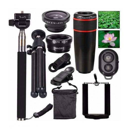 10 في 1 طقم عدسات كاميرا للهواتف المحمولة - اسود